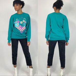 Vintage Tops - 90's Vintage Succulent Cactus Crewneck Sweatshirt